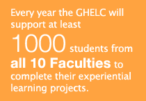 Every year the GHELC will support at least 1,000 students from all 10 Faculties to complete their experiential learning projects.